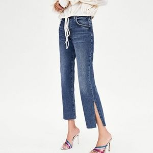 Zara Authentic Denim by TRF Raw Slit Hem Jeans